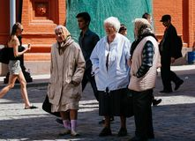 Old women in Moscow sightseeing royalty free stock photography