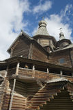 Old Russian wooden church. Recontructed ancient Russian wooden village church Royalty Free Stock Images