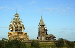 Old Russian wooden Church, the Church in the field, a wonderful rustic look, the background. Royalty Free Stock Photography