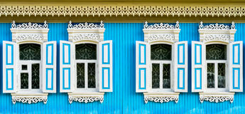 Old Russian Wooden Window Frames Royalty Free Stock Image