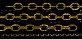 Old rust chain repeatable seamless. Rustic metal chain with heavy rusty textures. 3D rendering chains isolated, could be linked head to tail and repeat Royalty Free Stock Images