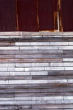 Old rust galvanized metal and wood title wall. Stock Photo
