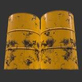 Old rust metal barrel. Oil on black background. 3d render illustration Royalty Free Stock Images