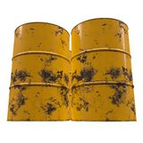 Old rust metal barrel. Oil isolated on white background. 3d render illustration Stock Photography