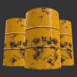 Old rust metal barrel. Oil on black background. 3d render illustration Royalty Free Stock Photo