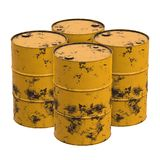 Old rust metal barrels. Oil isolated on white background. 3d render illustration Stock Photos