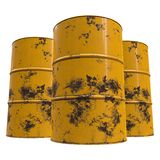 Old rust metal barrels. Oil isolated on white background. 3d render illustration Royalty Free Stock Photography