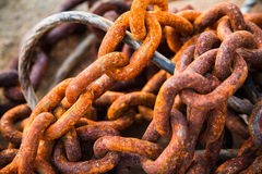 Old rust metal chain heap texture industrial. Royalty Free Stock Image