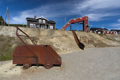 Old rust mining truck at copper mine camp, Foldall Royalty Free Stock Photos