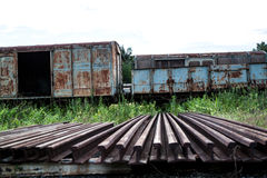 Old rust train. In Thailand for background Stock Image