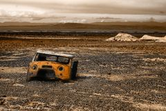 Old rust truck cab. Sad landscape Royalty Free Stock Images