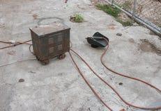 Old rust Welding equipment, welding mask Stock Photos