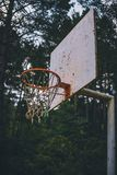 Old and rusted basketball basket on forest field low shot. Old and rusted basketball basket on forest field shot from below royalty free stock image