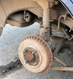 Old rusted brake drum on an old car Royalty Free Stock Photography