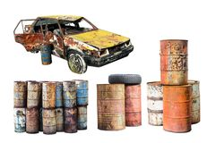 Free Old Rusted Car And Destroyed Rust Metal Oil Barrel Isolated On W Stock Photography - 100054112