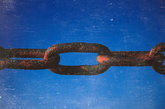 Old rusted chain on grey background. Strong connection between cells. Royalty Free Stock Photos