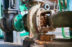 Old rusted cold water pump close up. Old rusted cold water pump close-up. Industrial background stock photos