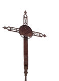 Old rusted cross, crucifix, isolated on white. Stock Photo