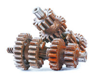 Old rusted and dusted vehicle gear set isolated Stock Photos