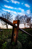 Old rusted fence post Royalty Free Stock Image