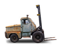 Old rusted Forklift Truck. Photo on white background Stock Images