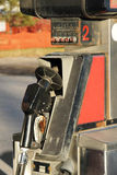 Old rusted gas pump. Old rusted and dirty gas pump vertical close-up Stock Photos