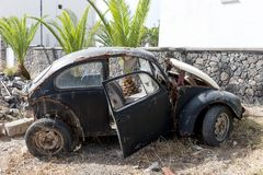 Old rusted german car wreck Stock Photo