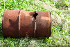 Old rusted iron barrel Royalty Free Stock Photography