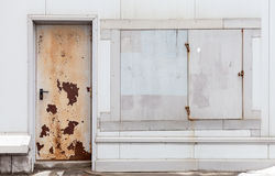 Old rusted locked door and windows texture Royalty Free Stock Photography