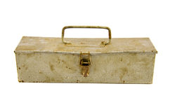 Old and rusted metal box for carpenter tools Royalty Free Stock Image