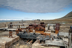 Old rusted minig equipment, Svalbard Stock Photo