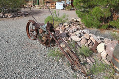 Old rusted motorcycle. Old useless abandoned rusted motorcycle in the desert of the ghost town of Nelson Nevada Royalty Free Stock Photo
