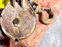 Old rusted pulley. Royalty Free Stock Photos
