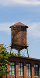 Old Rusted Rooftop Water Tower Urban Industrial Architecture Stock Image