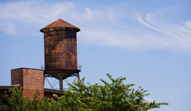Old Rusted Rooftop Water Tower Urban Industrial Architecture Stock Images