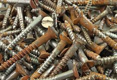 Old rusted screws Stock Photos
