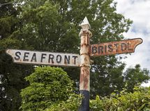 Signpost. An old, rusted signpost in Weston-super-Mare, UK royalty free stock photography