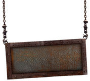 Old rusted steel plate on a white background. Stock Photo