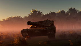 Old rusted tank and sun stock footage