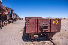 Old rusted train detail at train cemetery near salar uyuni in Bolivia Royalty Free Stock Images