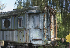Old rusted train at trainstation hombourg Royalty Free Stock Image