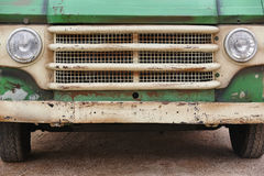 Old rusted van front. Retro vintage vehicle Stock Photo