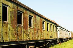Old and rusted wagon trains. At the train cemetery Stock Images