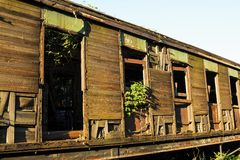 Old and rusted wagon trains. At the train cemetery Royalty Free Stock Photos