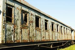 Old and rusted wagon trains. At the train cemetery Royalty Free Stock Photography