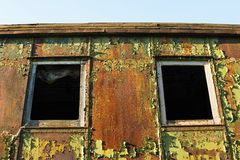 Old and rusted wagon trains. At the train cemetery Royalty Free Stock Images