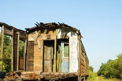 Old and rusted wagon trains. At the train cemetery Stock Photography