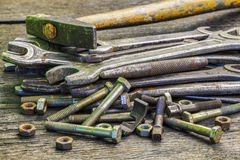 Old,rusted wrenches bolts and nuts Stock Photos