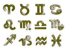 Old rust 12 zodiac signs horoscope set. Isolated set of 12 horoscope symbols with rustic moss texture. Ancient vintage weathered style. PNG with transparent Vector Illustration
