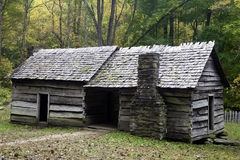 An Old Rustic Barn. A Weathered Barn on an early Fall morning in the Smoky Mountains Stock Image